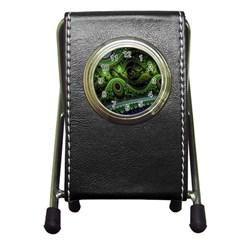 Fractal Green Gears Fantasy Pen Holder Desk Clocks by Celenk