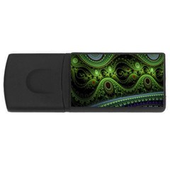 Fractal Green Gears Fantasy Rectangular Usb Flash Drive by Celenk