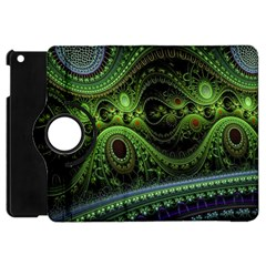 Fractal Green Gears Fantasy Apple Ipad Mini Flip 360 Case by Celenk
