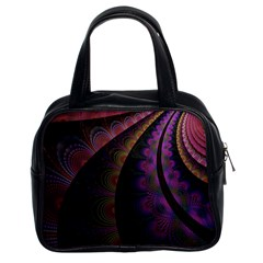 Fractal Colorful Pattern Spiral Classic Handbags (2 Sides) by Celenk