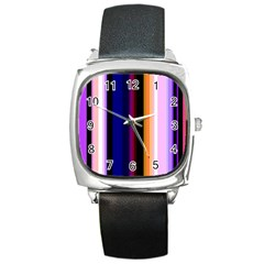 Abstract Background Pattern Textile 3 Square Metal Watch by Celenk
