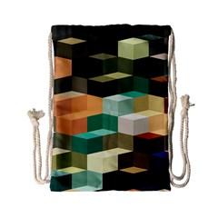 Art Design Color Pattern Creative 3d Drawstring Bag (small) by Celenk