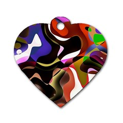 Abstract Background Design Art Dog Tag Heart (two Sides)