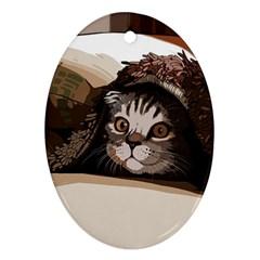 Cat Kitten Cute Pet Blanket Sweet Ornament (oval) by Celenk