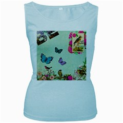 Whimsical Shabby Chic Collage Women s Baby Blue Tank Top by 8fugoso