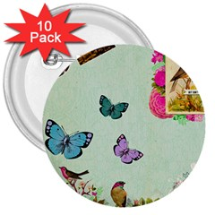 Whimsical Shabby Chic Collage 3  Buttons (10 Pack)  by 8fugoso