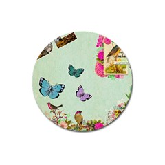 Whimsical Shabby Chic Collage Magnet 3  (round) by 8fugoso