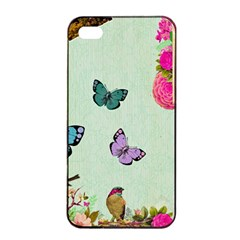 Whimsical Shabby Chic Collage Apple Iphone 4/4s Seamless Case (black) by 8fugoso