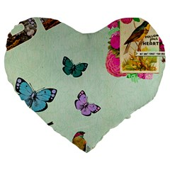 Whimsical Shabby Chic Collage Large 19  Premium Heart Shape Cushions by 8fugoso