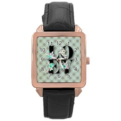 Rustic Love Rose Gold Leather Watch  by 8fugoso