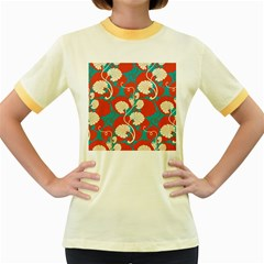 Floral Asian Vintage Pattern Women s Fitted Ringer T Shirts by 8fugoso