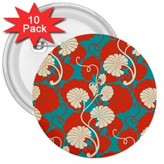 Floral Asian Vintage Pattern 3  Buttons (10 Pack)  by 8fugoso