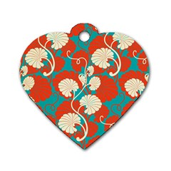 Floral Asian Vintage Pattern Dog Tag Heart (one Side) by 8fugoso