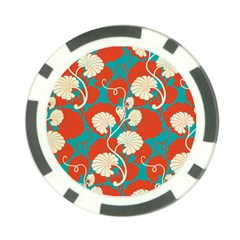 Floral Asian Vintage Pattern Poker Chip Card Guard (10 Pack) by 8fugoso