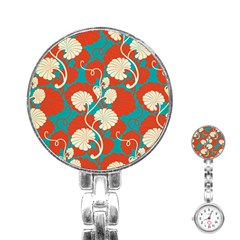 Floral Asian Vintage Pattern Stainless Steel Nurses Watch by 8fugoso