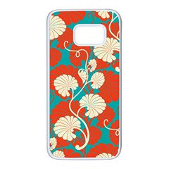 Floral Asian Vintage Pattern Samsung Galaxy S7 White Seamless Case by 8fugoso