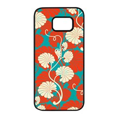 Floral Asian Vintage Pattern Samsung Galaxy S7 Edge Black Seamless Case by 8fugoso