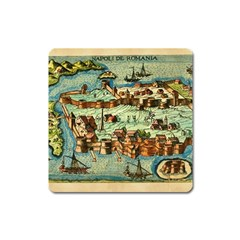 Medeival Ancient Map Fortress Square Magnet by Celenk