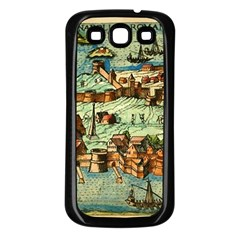 Medeival Ancient Map Fortress Samsung Galaxy S3 Back Case (black) by Celenk