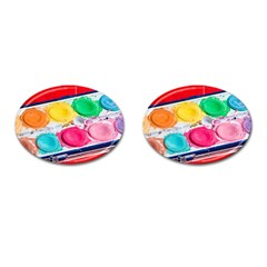 Palette Brush Paint Box Color Cufflinks (oval) by Celenk