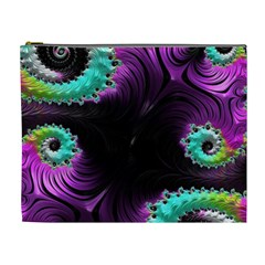 Fractals Spirals Black Colorful Cosmetic Bag (xl) by Celenk