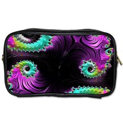 Fractals Spirals Black Colorful Toiletries Bags by Celenk