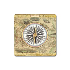 Map Vintage Nautical Collage Square Magnet by Celenk