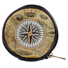 Map Vintage Nautical Collage Mini Makeup Bags by Celenk