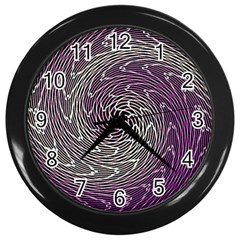 Graphic Abstract Lines Wave Art Wall Clocks (black) by Celenk