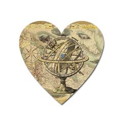 Map Compass Nautical Vintage Heart Magnet by Celenk