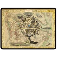 Map Compass Nautical Vintage Fleece Blanket (large)  by Celenk