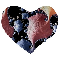 Fractal Art Design Fantasy Science Large 19  Premium Flano Heart Shape Cushions by Celenk