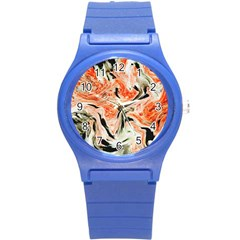 Marble Texture White Pattern Round Plastic Sport Watch (s) by Celenk