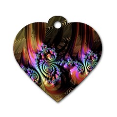 Fractal Colorful Background Dog Tag Heart (one Side) by Celenk