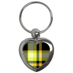 Tartan Abstract Background Pattern Textile 5 Key Chains (heart)  by Celenk
