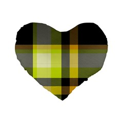 Tartan Abstract Background Pattern Textile 5 Standard 16  Premium Flano Heart Shape Cushions by Celenk