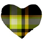 Tartan Abstract Background Pattern Textile 5 Large 19  Premium Flano Heart Shape Cushions Front