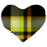 Tartan Abstract Background Pattern Textile 5 Large 19  Premium Flano Heart Shape Cushions Back