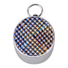 Kaleidoscope Pattern Ornament Mini Silver Compasses by Celenk
