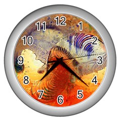 Dirty Dirt Image Spiral Wave Wall Clocks (silver)  by Celenk