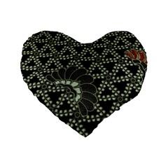 Batik Traditional Heritage Indonesia Standard 16  Premium Heart Shape Cushions by Celenk