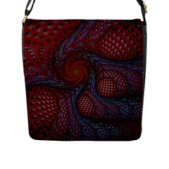 Fractal Red Fractal Art Digital Art Flap Messenger Bag (l)  by Celenk