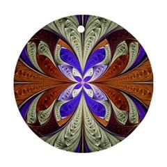 Fractal Splits Silver Gold Ornament (round) by Celenk