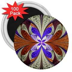 Fractal Splits Silver Gold 3  Magnets (100 Pack) by Celenk
