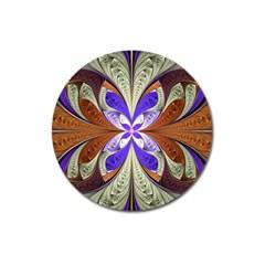 Fractal Splits Silver Gold Magnet 3  (round) by Celenk