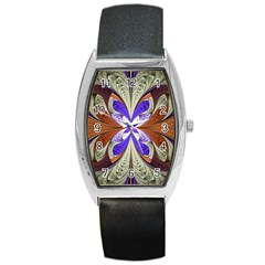 Fractal Splits Silver Gold Barrel Style Metal Watch by Celenk