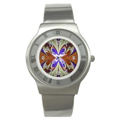 Fractal Splits Silver Gold Stainless Steel Watch by Celenk