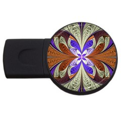 Fractal Splits Silver Gold Usb Flash Drive Round (4 Gb) by Celenk