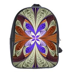 Fractal Splits Silver Gold School Bag (large) by Celenk