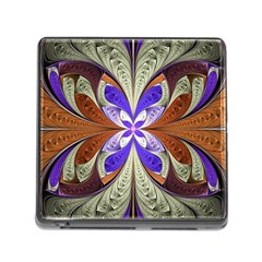 Fractal Splits Silver Gold Memory Card Reader (square) by Celenk